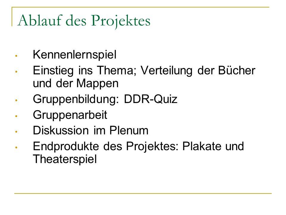 Ablauf des Projektes Kennenlernspiel Einstieg ins Thema; Verteilung der Bücher und der Mappen Gruppenbildung: DDR-Quiz Gruppenarbeit Diskussion im Ple