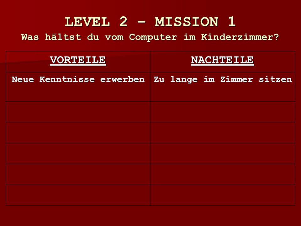 LEVEL 2 – MISSION 1 Was hältst du vom Computer im Kinderzimmer.