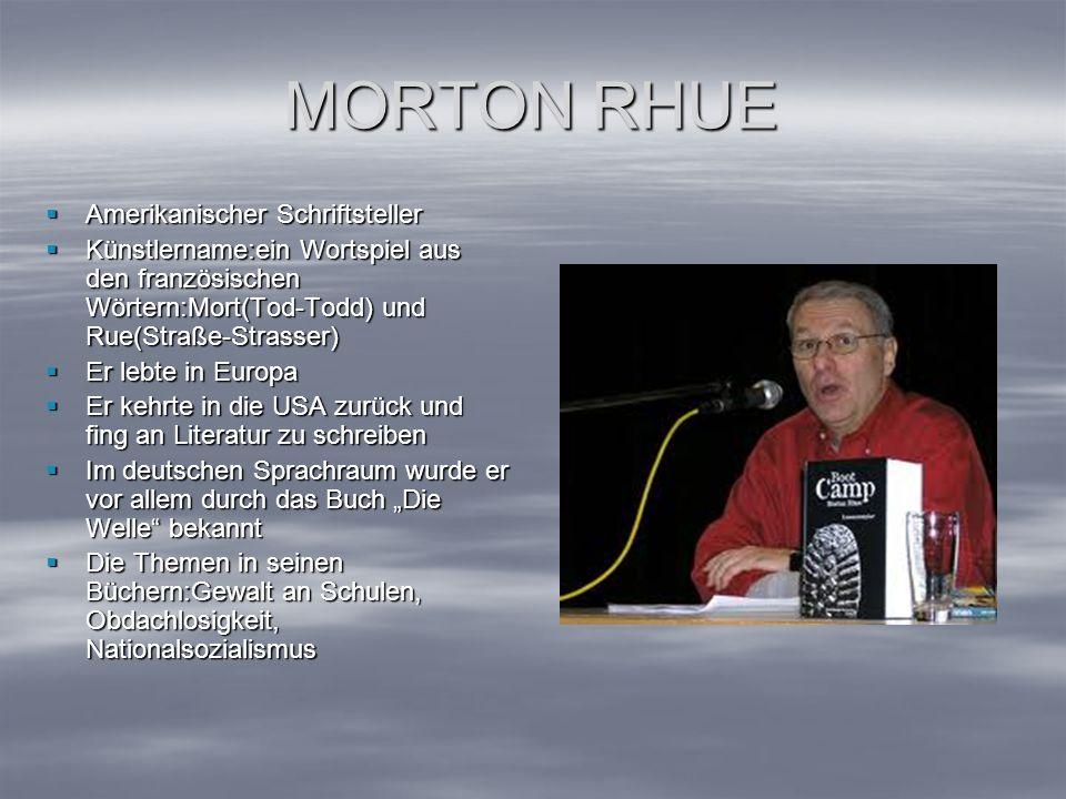 MORTON RHUE Amerikanischer Schriftsteller Amerikanischer Schriftsteller Künstlername:ein Wortspiel aus den französischen Wörtern:Mort(Tod-Todd) und Ru