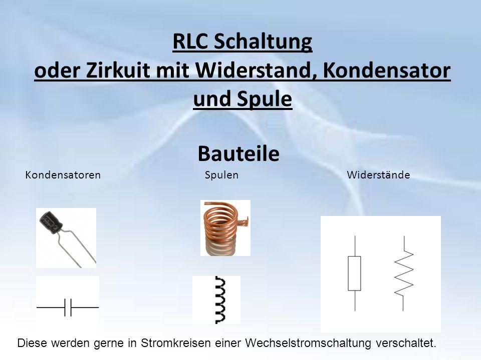 RLC Schaltung oder Zirkuit mit Widerstand, Kondensator und Spule Bauteile Kondensatoren Spulen Widerstände Diese werden gerne in Stromkreisen einer Wechselstromschaltung verschaltet.
