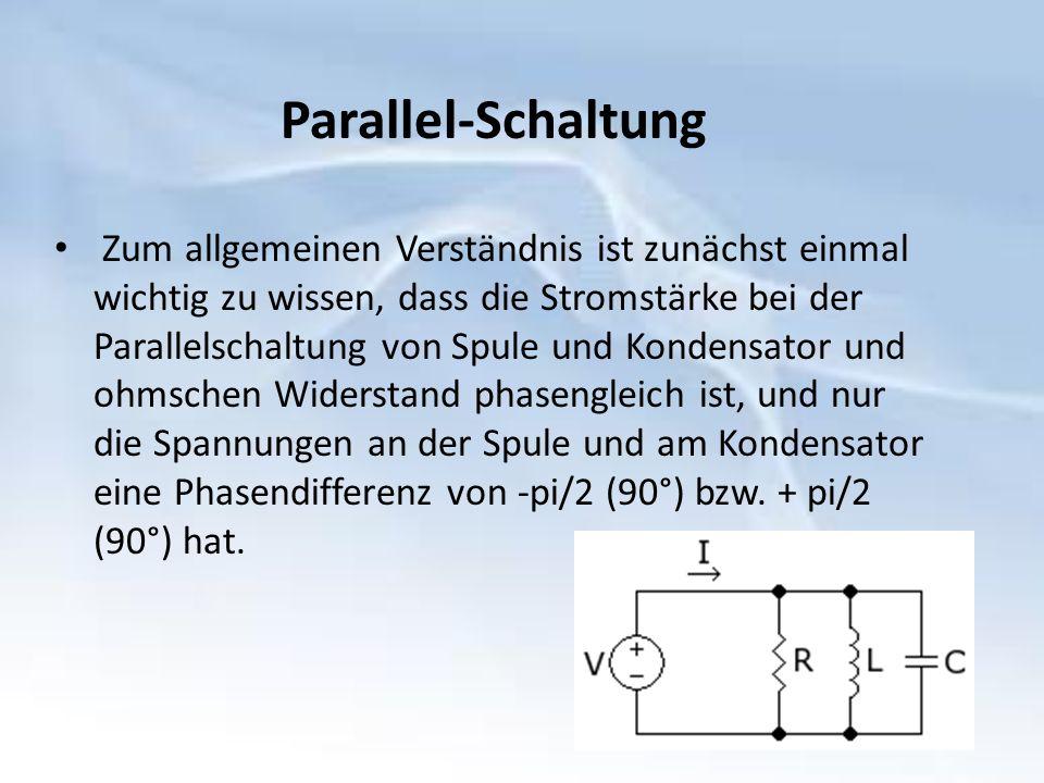 Zum allgemeinen Verständnis ist zunächst einmal wichtig zu wissen, dass die Stromstärke bei der Parallelschaltung von Spule und Kondensator und ohmschen Widerstand phasengleich ist, und nur die Spannungen an der Spule und am Kondensator eine Phasendifferenz von -pi/2 (90°) bzw.