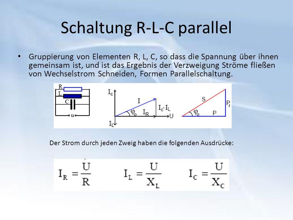Die Anwendung der Satz des Pythagoras im Dreieck Ströme, erhalten wird: I2 = IR2 + (IC-IL) 2, wobei: Notieren wir: Das ohmsche Gesetz ist: Strom-Spannungs-Phasenwinkel wird durch die folgenden Beziehungen Resonanzströme Wenn die Schaltung ist Spulenstrom gleich den Kondensator Ergebnisse:
