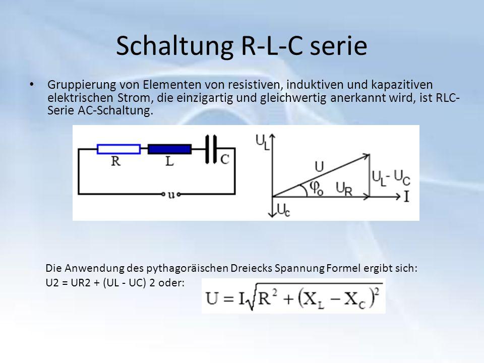 Schaltung R-L-C serie Gruppierung von Elementen von resistiven, induktiven und kapazitiven elektrischen Strom, die einzigartig und gleichwertig anerkannt wird, ist RLC- Serie AC-Schaltung.