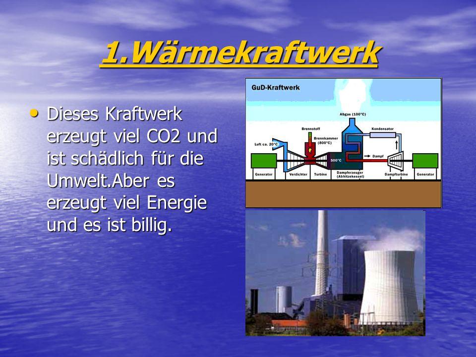 1.Wärmekraftwerk Dieses Kraftwerk erzeugt viel CO2 und ist schädlich für die Umwelt.Aber es erzeugt viel Energie und es ist billig.