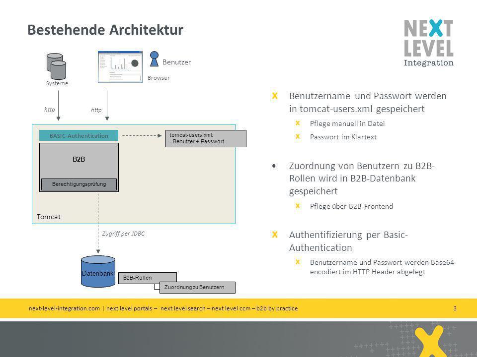 3 Tomcat B2B Datenbank Zugriff per JDBC BASIC-Authentication B2B-Rollen Zuordnung zu Benutzern tomcat-users.xml: - Benutzer + Passwort Benutzername und Passwort werden in tomcat-users.xml gespeichert Pflege manuell in Datei Passwort im Klartext Zuordnung von Benutzern zu B2B- Rollen wird in B2B-Datenbank gespeichert Pflege über B2B-Frontend Authentifizierung per Basic- Authentication Benutzername und Passwort werden Base64- encodiert im HTTP Header abgelegt Benutzer Browser http Systeme http Berechtigungsprüfung Bestehende Architektur