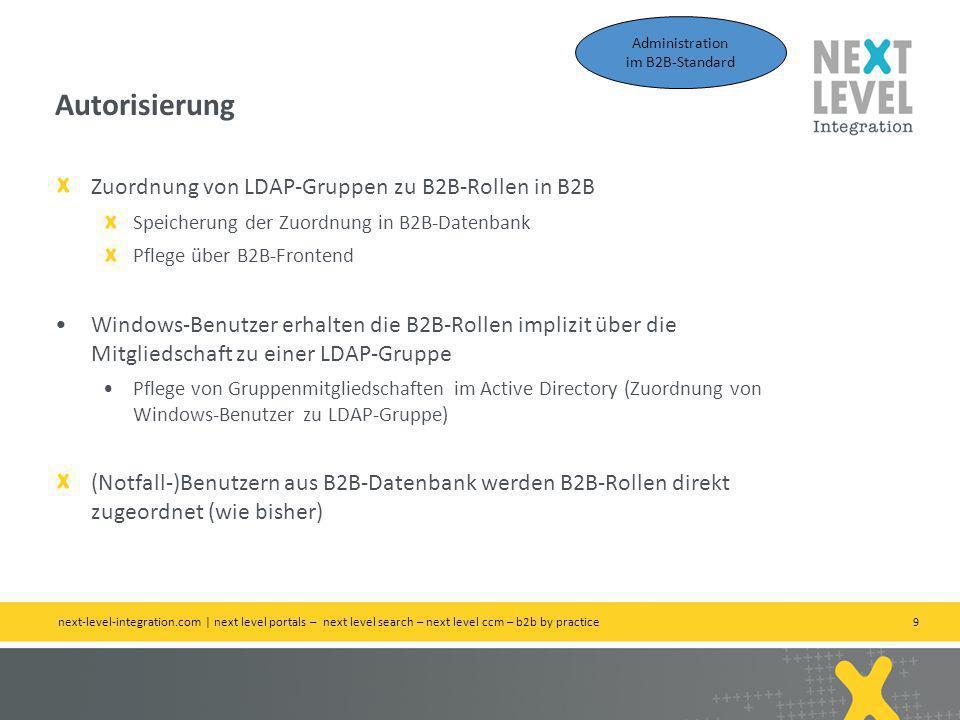 9 Zuordnung von LDAP-Gruppen zu B2B-Rollen in B2B Speicherung der Zuordnung in B2B-Datenbank Pflege über B2B-Frontend Windows-Benutzer erhalten die B2B-Rollen implizit über die Mitgliedschaft zu einer LDAP-Gruppe Pflege von Gruppenmitgliedschaften im Active Directory (Zuordnung von Windows-Benutzer zu LDAP-Gruppe) (Notfall-)Benutzern aus B2B-Datenbank werden B2B-Rollen direkt zugeordnet (wie bisher) Autorisierung next-level-integration.com | next level portals – next level search – next level ccm – b2b by practice Administration im B2B-Standard