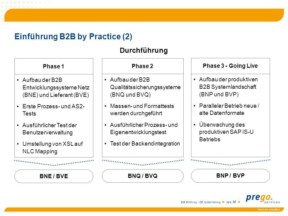 B2B Einführung VSE Systemtrennung Seite 10 Einführung B2B by Practice (2) Durchführung BNE / BVE Phase 1 Aufbau der B2B Entwicklungssysteme Netz (BNE)
