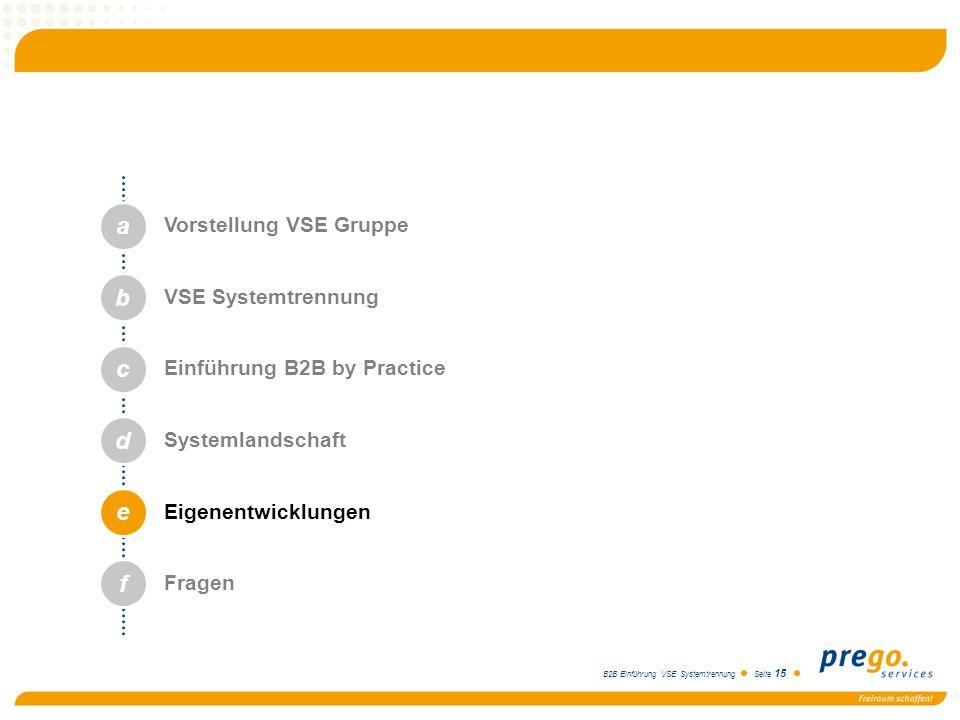B2B Einführung VSE Systemtrennung Seite 15 a b c d e Vorstellung VSE Gruppe VSE Systemtrennung Einführung B2B by Practice Systemlandschaft Eigenentwic