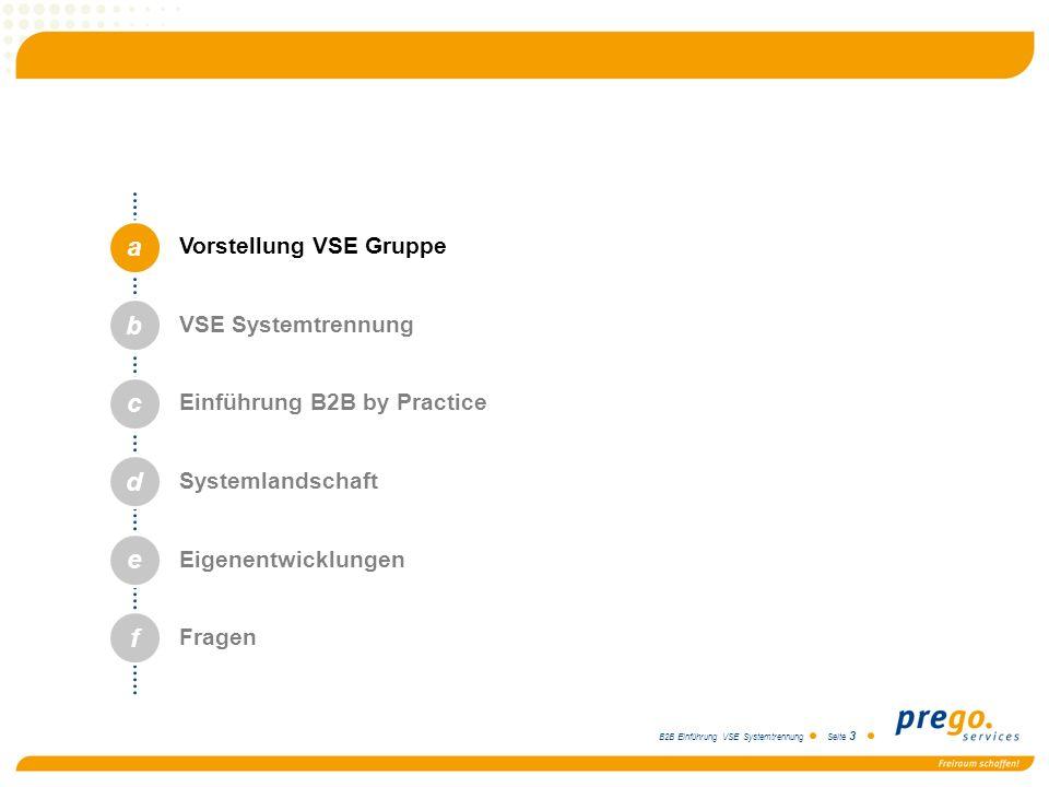 B2B Einführung VSE Systemtrennung Seite 3 a b c d e Vorstellung VSE Gruppe VSE Systemtrennung Einführung B2B by Practice Systemlandschaft Eigenentwick