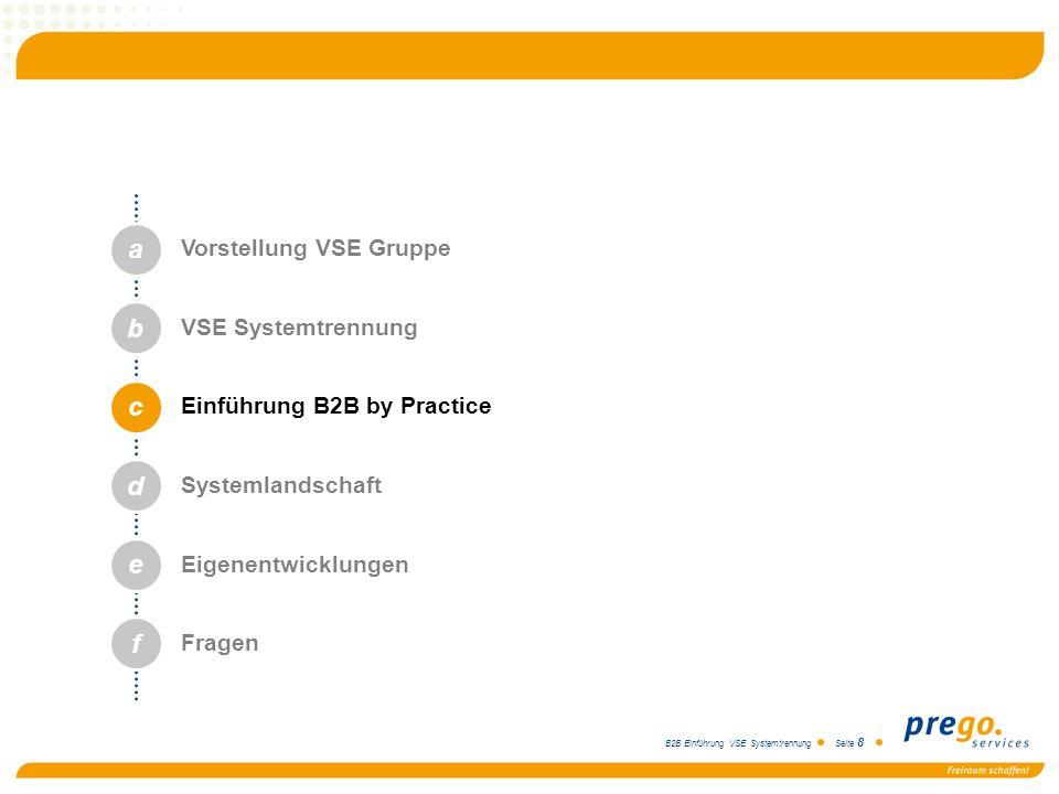 B2B Einführung VSE Systemtrennung Seite 8 a b c d e Vorstellung VSE Gruppe VSE Systemtrennung Einführung B2B by Practice Systemlandschaft Eigenentwick