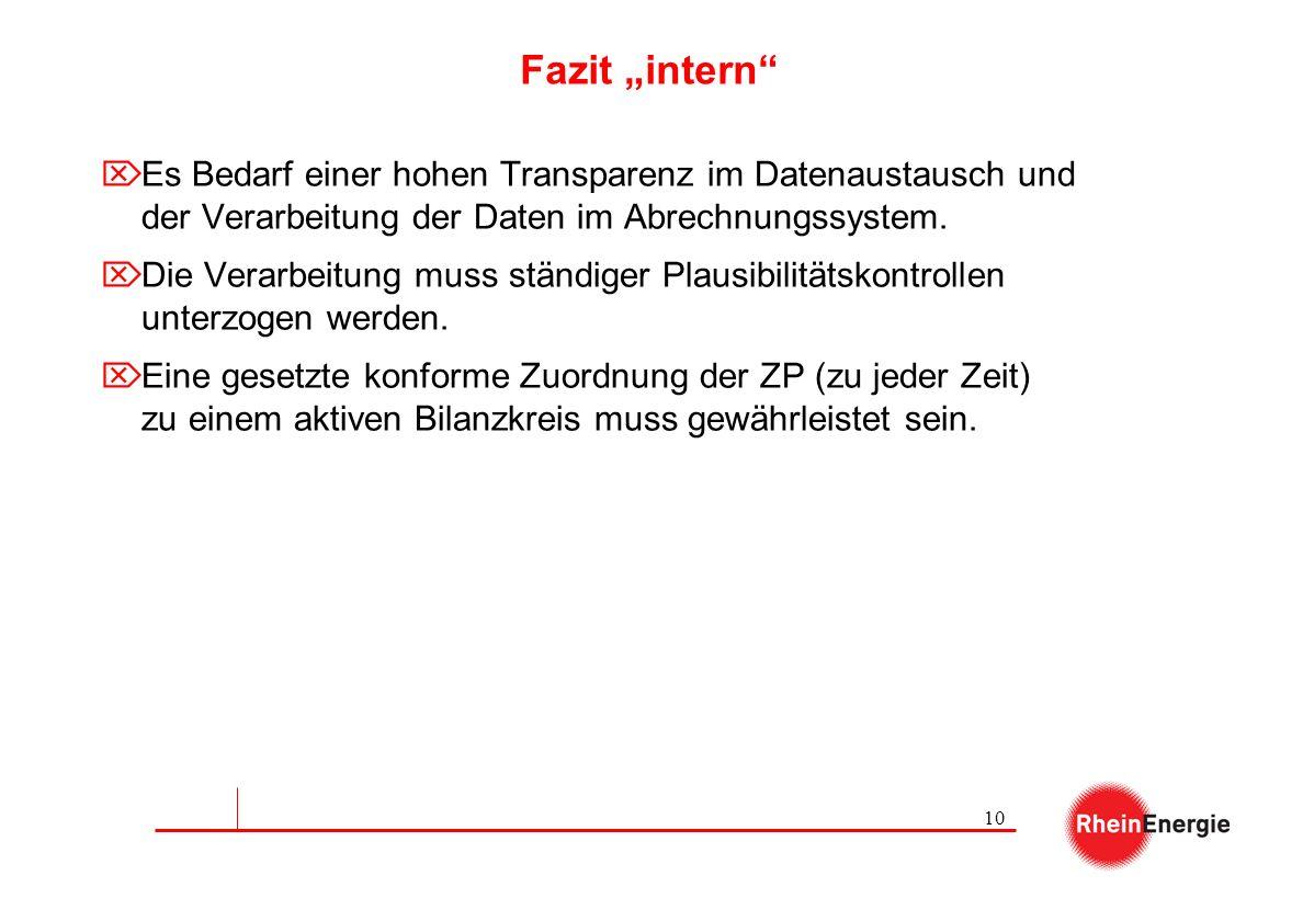 10 Fazit intern Es Bedarf einer hohen Transparenz im Datenaustausch und der Verarbeitung der Daten im Abrechnungssystem. Die Verarbeitung muss ständig