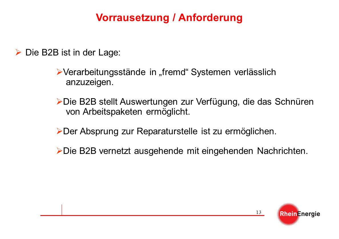 13 Vorrausetzung / Anforderung Die B2B ist in der Lage: Verarbeitungsstände in fremd Systemen verlässlich anzuzeigen. Die B2B stellt Auswertungen zur