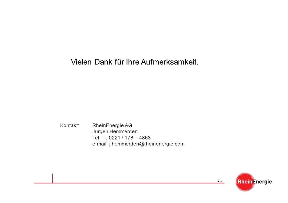 21 Vielen Dank für Ihre Aufmerksamkeit. Kontakt: RheinEnergie AG Jürgen Hemmerden Tel.: 0221 / 178 – 4863 e-mail: j.hemmerden@rheinenergie.com