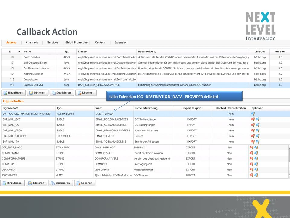 10 Callback Action next-level-integration.com | B2B by Practice Ist in Extension JCO_DESTINATION_DATA_PROVIDER definiert