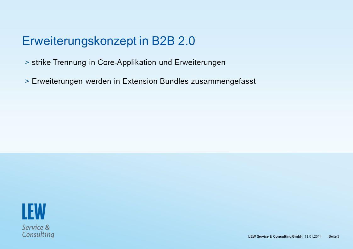 LEW Service & Consulting GmbH 11.01.2014Seite 3 Erweiterungskonzept in B2B 2.0 > strike Trennung in Core-Applikation und Erweiterungen > Erweiterungen
