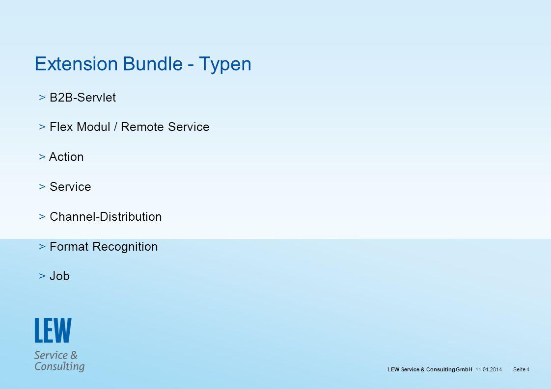 LEW Service & Consulting GmbH 11.01.2014Seite 4 Extension Bundle - Typen > B2B-Servlet > Flex Modul / Remote Service > Action > Service > Channel-Dist