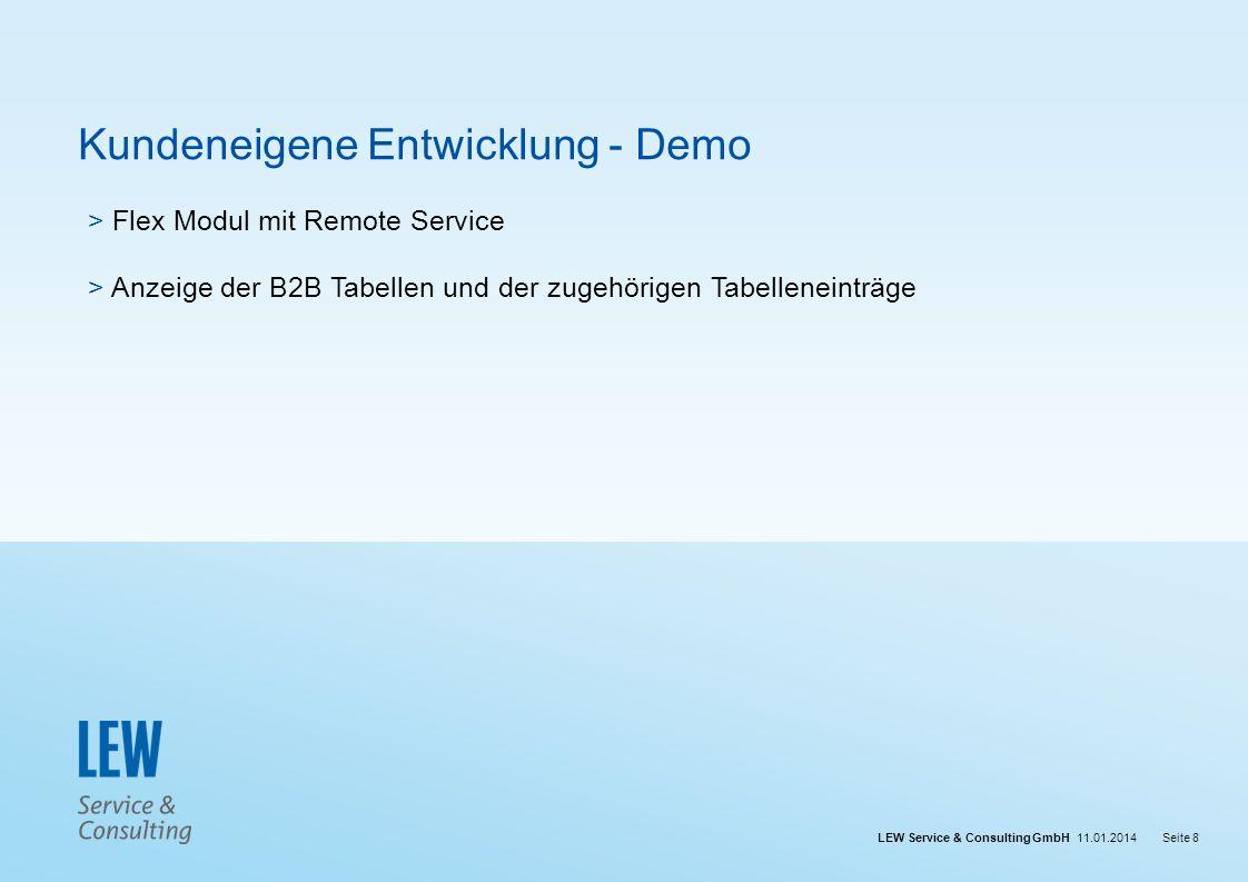 LEW Service & Consulting GmbH 11.01.2014Seite 8 Kundeneigene Entwicklung - Demo > Flex Modul mit Remote Service > Anzeige der B2B Tabellen und der zug