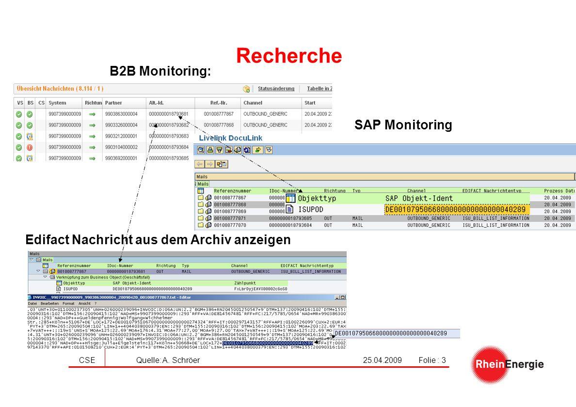 25.04.2009CSE Quelle: A. SchröerFolie : 3 Recherche B2B Monitoring: SAP Monitoring Edifact Nachricht aus dem Archiv anzeigen