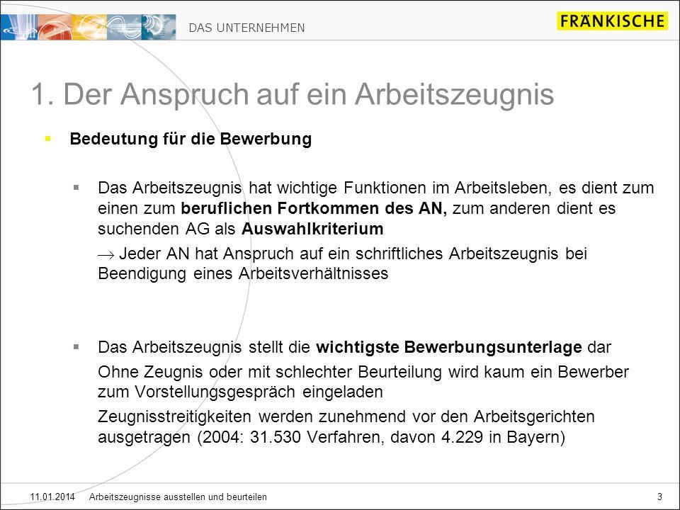 DAS UNTERNEHMEN 11.01.2014 Arbeitszeugnisse ausstellen und beurteilen14 2.1.