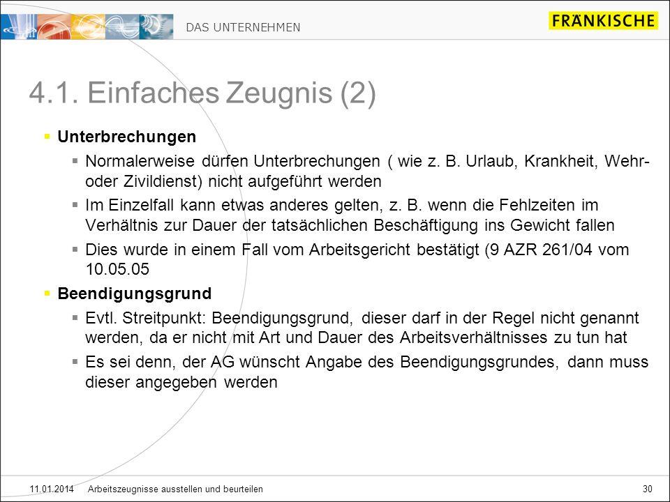 DAS UNTERNEHMEN 11.01.2014 Arbeitszeugnisse ausstellen und beurteilen30 4.1.