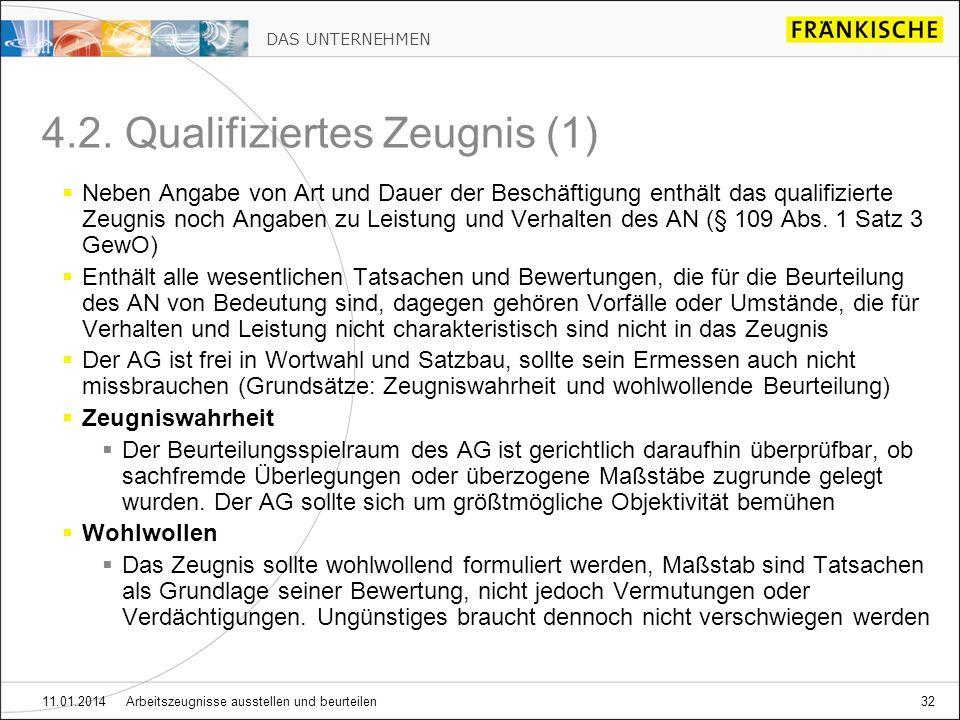 DAS UNTERNEHMEN 11.01.2014 Arbeitszeugnisse ausstellen und beurteilen32 4.2.