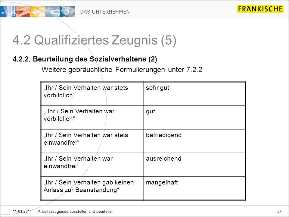 DAS UNTERNEHMEN 11.01.2014 Arbeitszeugnisse ausstellen und beurteilen37 4.2 Qualifiziertes Zeugnis (5) 4.2.2.