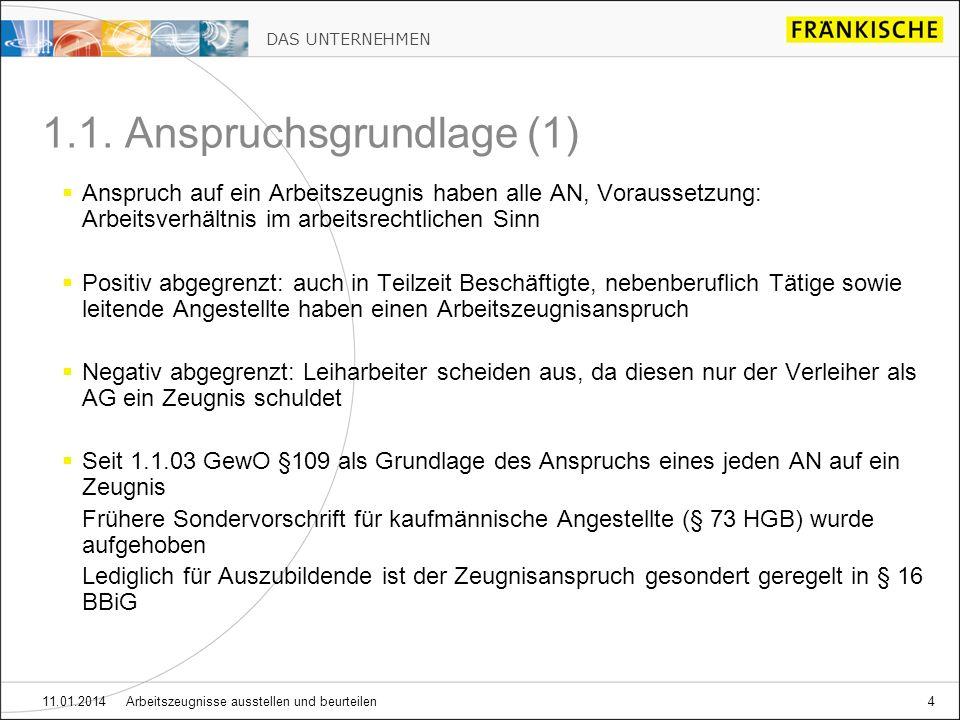 DAS UNTERNEHMEN 11.01.2014 Arbeitszeugnisse ausstellen und beurteilen15 2.1.