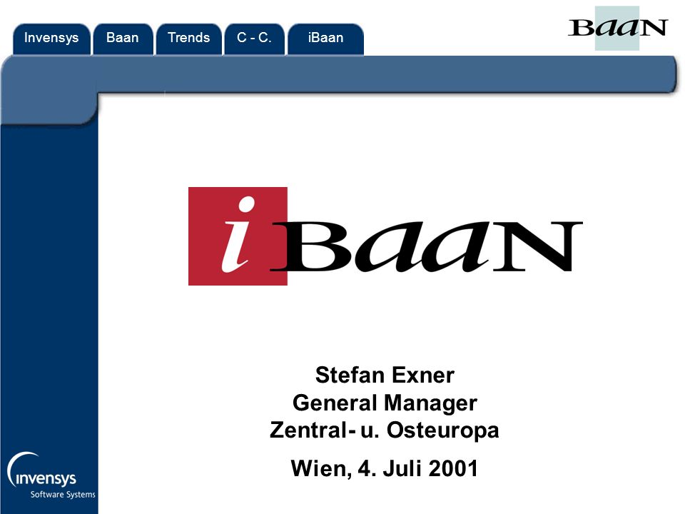 InvensysTrendsC - C.iBaanBaan Stefan Exner General Manager Zentral- u. Osteuropa Wien, 4. Juli 2001