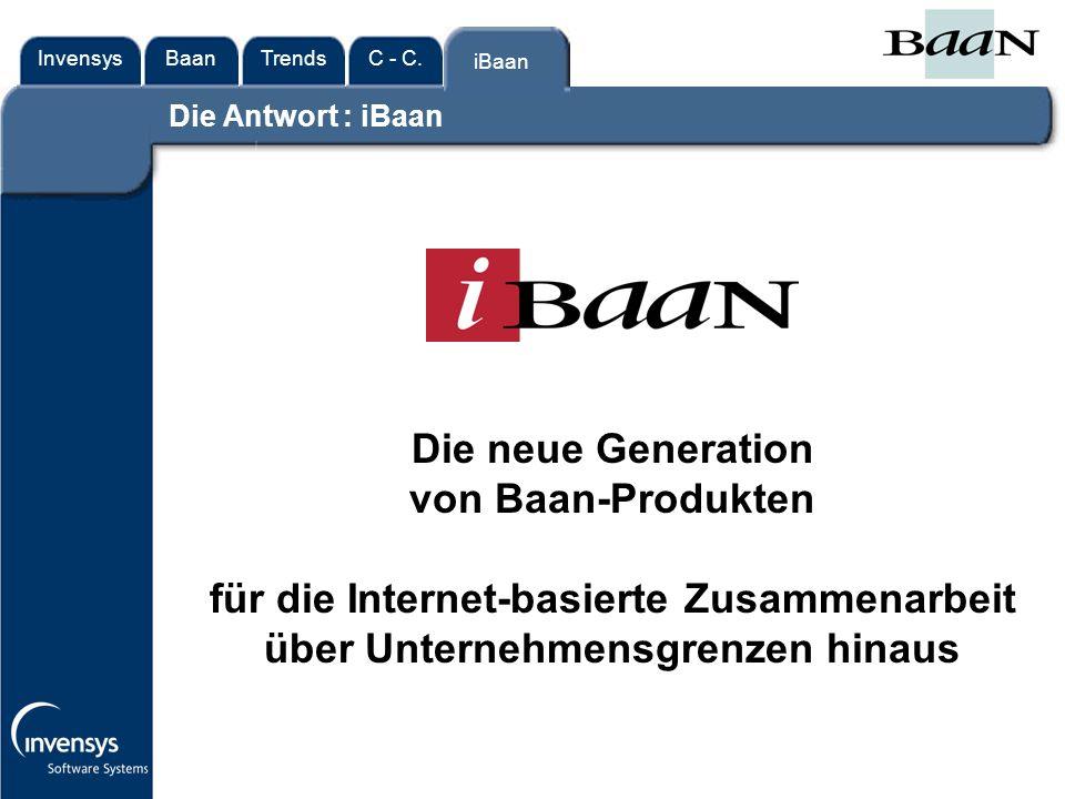 InvensysTrendsC - C.iBaanBaan iBaan Die neue Generation von Baan-Produkten für die Internet-basierte Zusammenarbeit über Unternehmensgrenzen hinaus Die Antwort : iBaan
