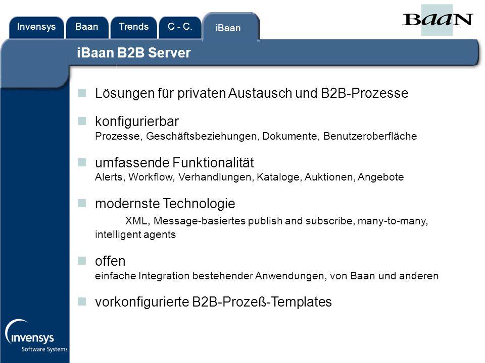 InvensysTrendsC - C.iBaanBaan iBaan Lösungen für privaten Austausch und B2B-Prozesse konfigurierbar Prozesse, Geschäftsbeziehungen, Dokumente, Benutzeroberfläche umfassende Funktionalität Alerts, Workflow, Verhandlungen, Kataloge, Auktionen, Angebote modernste Technologie XML, Message-basiertes publish and subscribe, many-to-many, intelligent agents offen einfache Integration bestehender Anwendungen, von Baan und anderen vorkonfigurierte B2B-Prozeß-Templates iBaan B2B Server