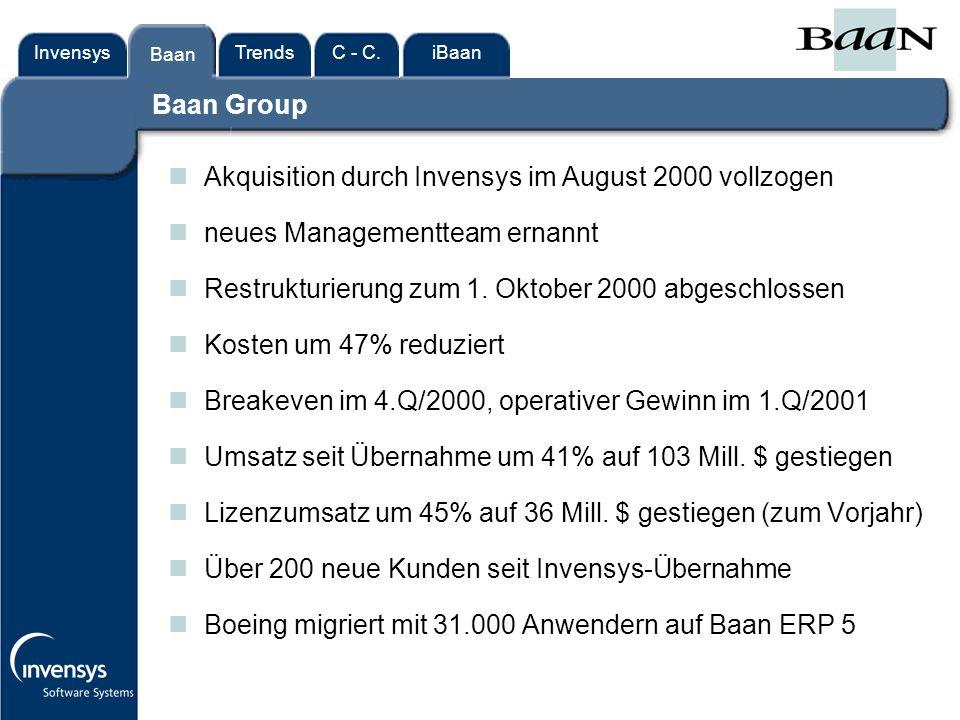 InvensysTrendsC - C.iBaanBaan Baan Group nAkquisition durch Invensys im August 2000 vollzogen nneues Managementteam ernannt nRestrukturierung zum 1.