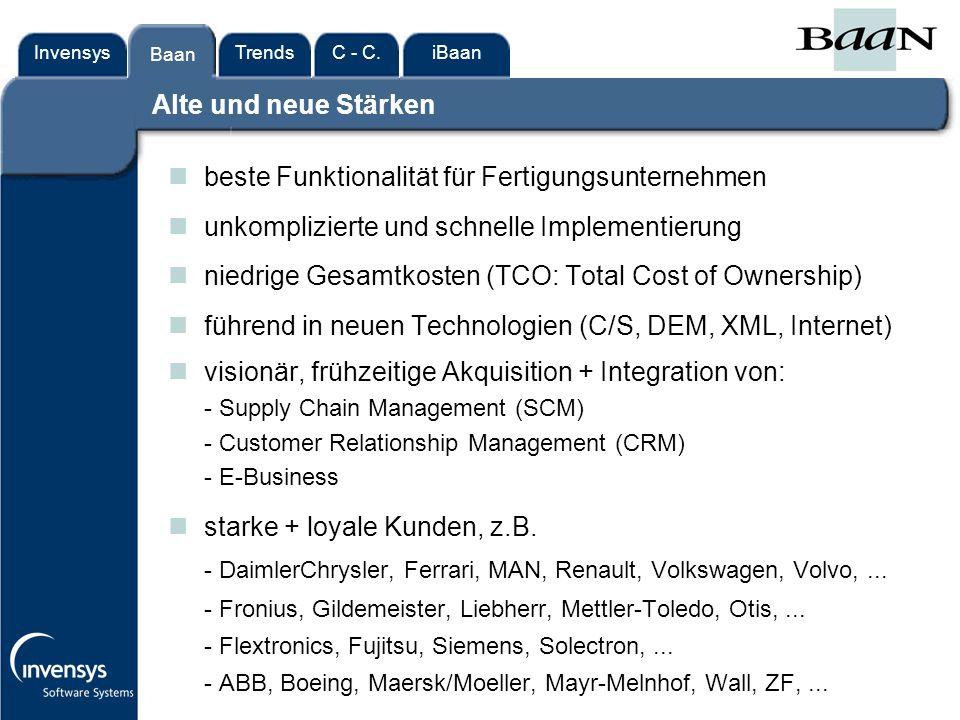 InvensysTrendsC - C.iBaanBaan Alte und neue Stärken Baan nbeste Funktionalität für Fertigungsunternehmen nunkomplizierte und schnelle Implementierung nniedrige Gesamtkosten (TCO: Total Cost of Ownership) nführend in neuen Technologien (C/S, DEM, XML, Internet) nvisionär, frühzeitige Akquisition + Integration von: - Supply Chain Management (SCM) - Customer Relationship Management (CRM) - E-Business nstarke + loyale Kunden, z.B.