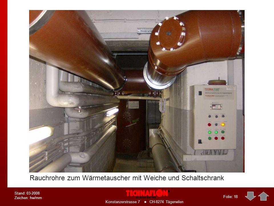 Folie: 17 Konstanzerstrasse 7 CH-8274 Tägerwilen Stand: 03-2008 Zeichen: hw/mm Anbindung der Heizkessel an den Wärmetauscher