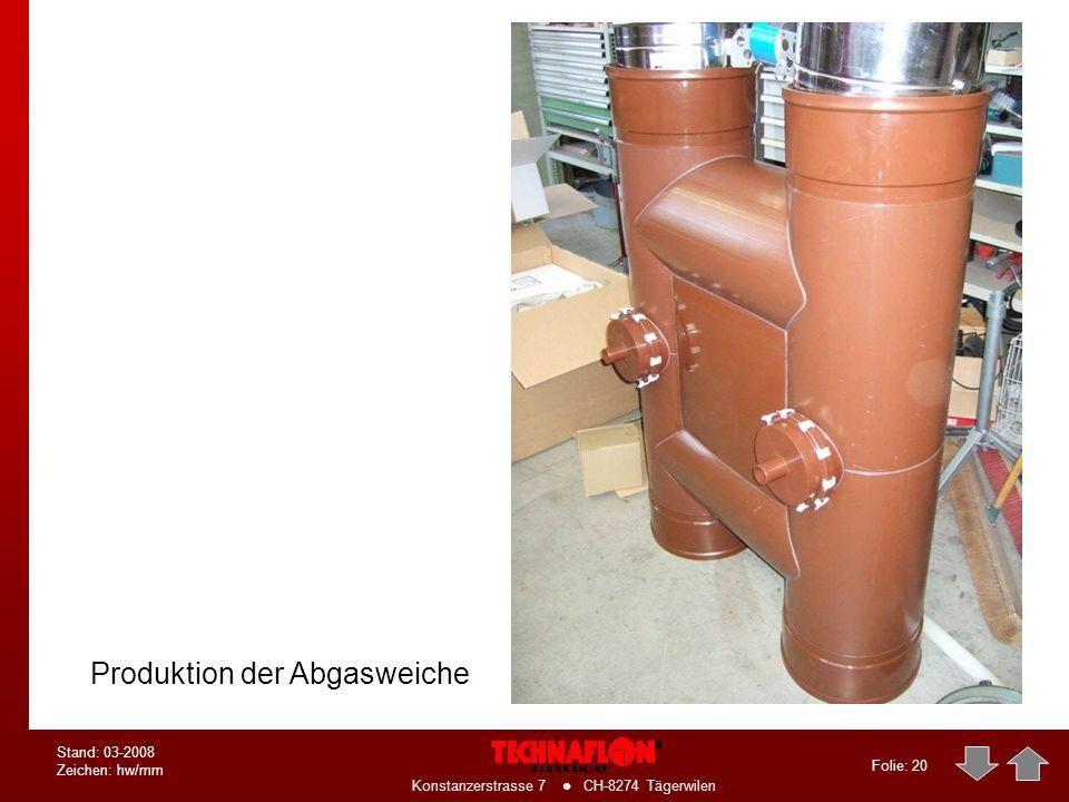Folie: 19 Konstanzerstrasse 7 CH-8274 Tägerwilen Stand: 03-2008 Zeichen: hw/mm Details der Anbindung an den Technaplus- Wärmetauscher Abgasweiche mit