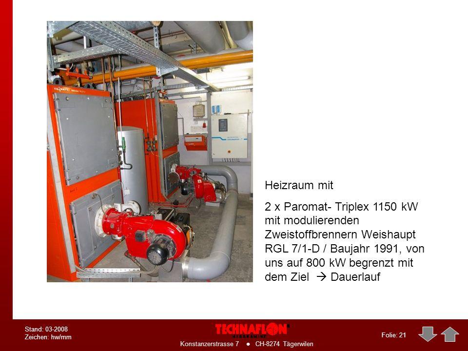 Folie: 20 Konstanzerstrasse 7 CH-8274 Tägerwilen Stand: 03-2008 Zeichen: hw/mm Produktion der Abgasweiche