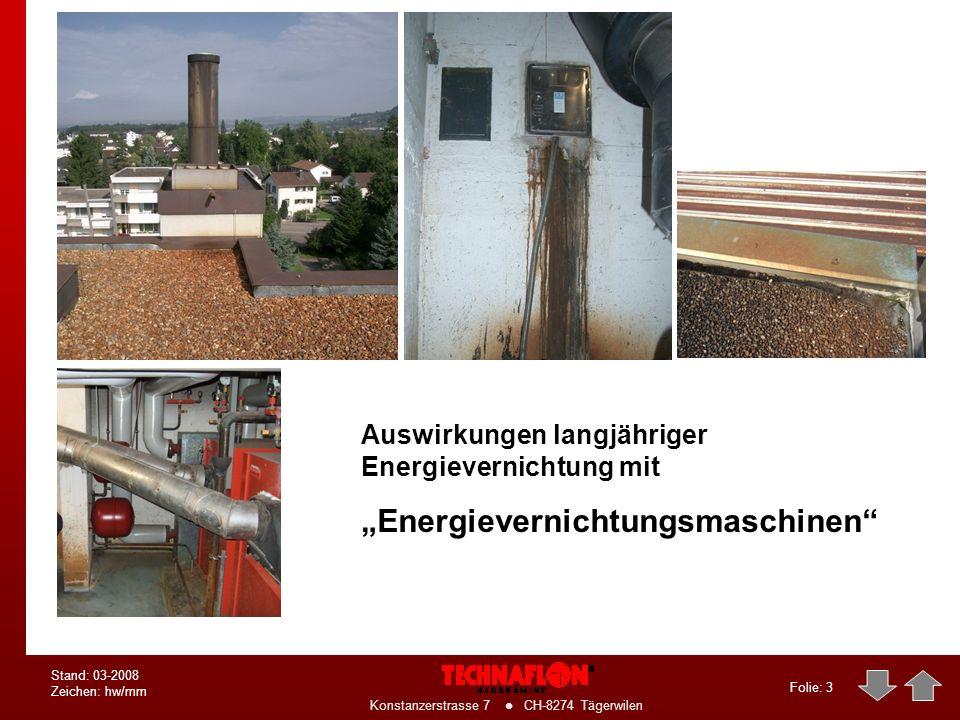 Folie: 3 Konstanzerstrasse 7 CH-8274 Tägerwilen Stand: 03-2008 Zeichen: hw/mm Auswirkungen langjähriger Energievernichtung mit Energievernichtungsmaschinen