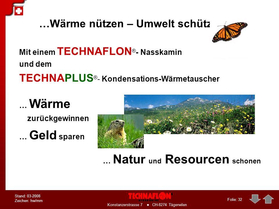 Folie: 31 Konstanzerstrasse 7 CH-8274 Tägerwilen Stand: 03-2008 Zeichen: hw/mm TECHNAFLON- Produkte Vielfalt für Problemlösungen bis 2000 kW (z.B. für