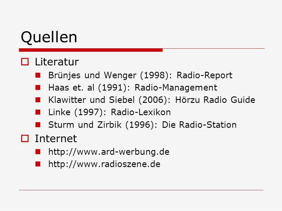 Quellen Literatur Brünjes und Wenger (1998): Radio-Report Haas et. al (1991): Radio-Management Klawitter und Siebel (2006): Hörzu Radio Guide Linke (1