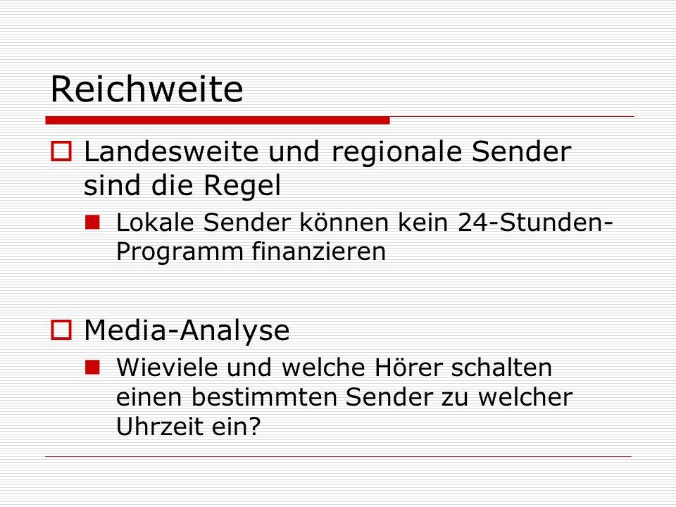 Reichweite Landesweite und regionale Sender sind die Regel Lokale Sender können kein 24-Stunden- Programm finanzieren Media-Analyse Wieviele und welch