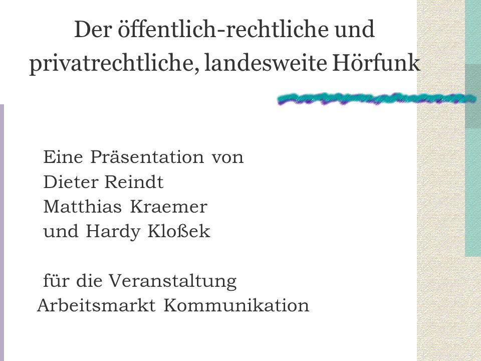 Der öffentlich-rechtliche und privatrechtliche, landesweite Hörfunk Eine Präsentation von Dieter Reindt Matthias Kraemer und Hardy Kloßek für die Vera