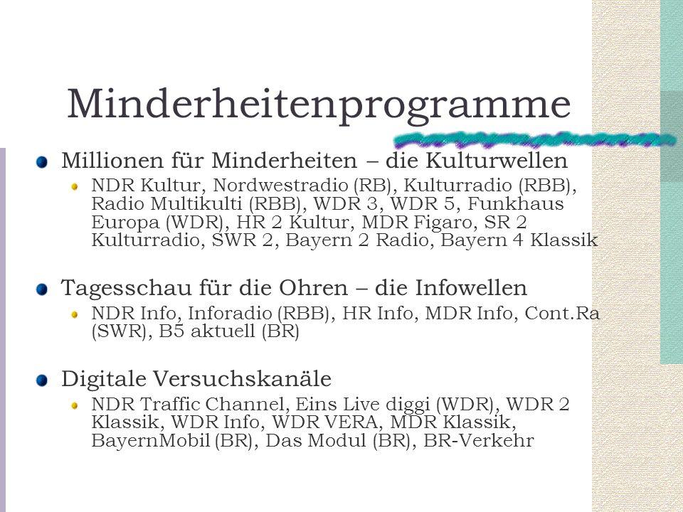 Minderheitenprogramme Millionen für Minderheiten – die Kulturwellen NDR Kultur, Nordwestradio (RB), Kulturradio (RBB), Radio Multikulti (RBB), WDR 3,