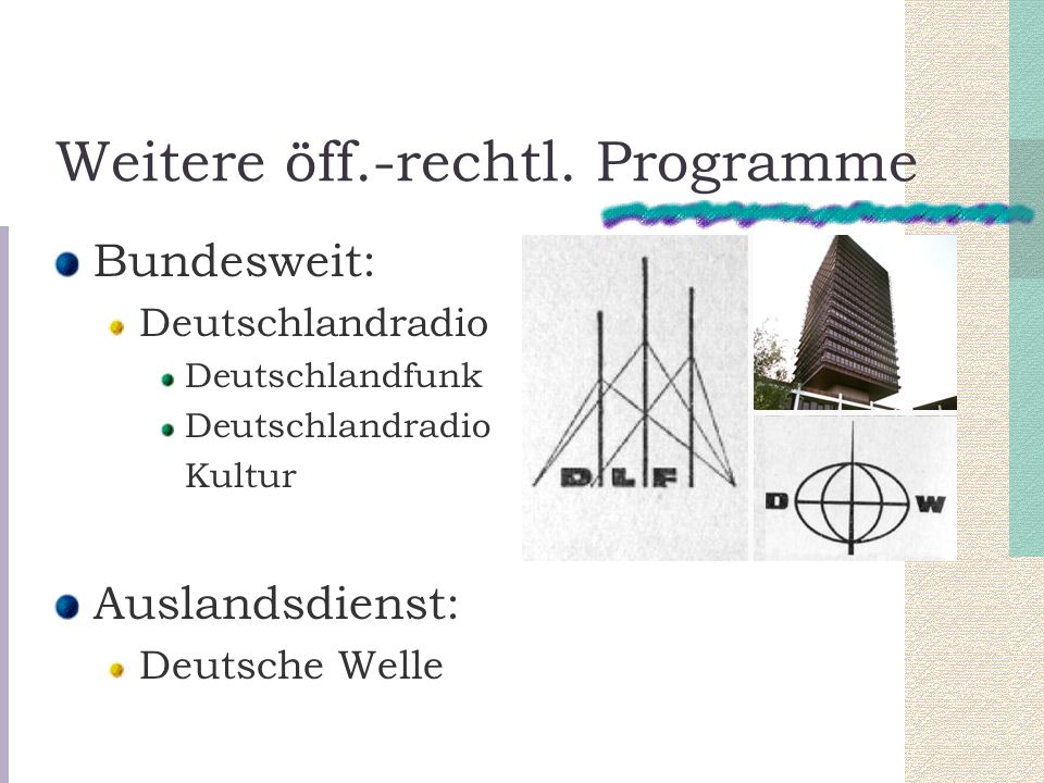 Weitere öff.-rechtl. Programme Bundesweit: Deutschlandradio Deutschlandfunk Deutschlandradio Kultur Auslandsdienst: Deutsche Welle