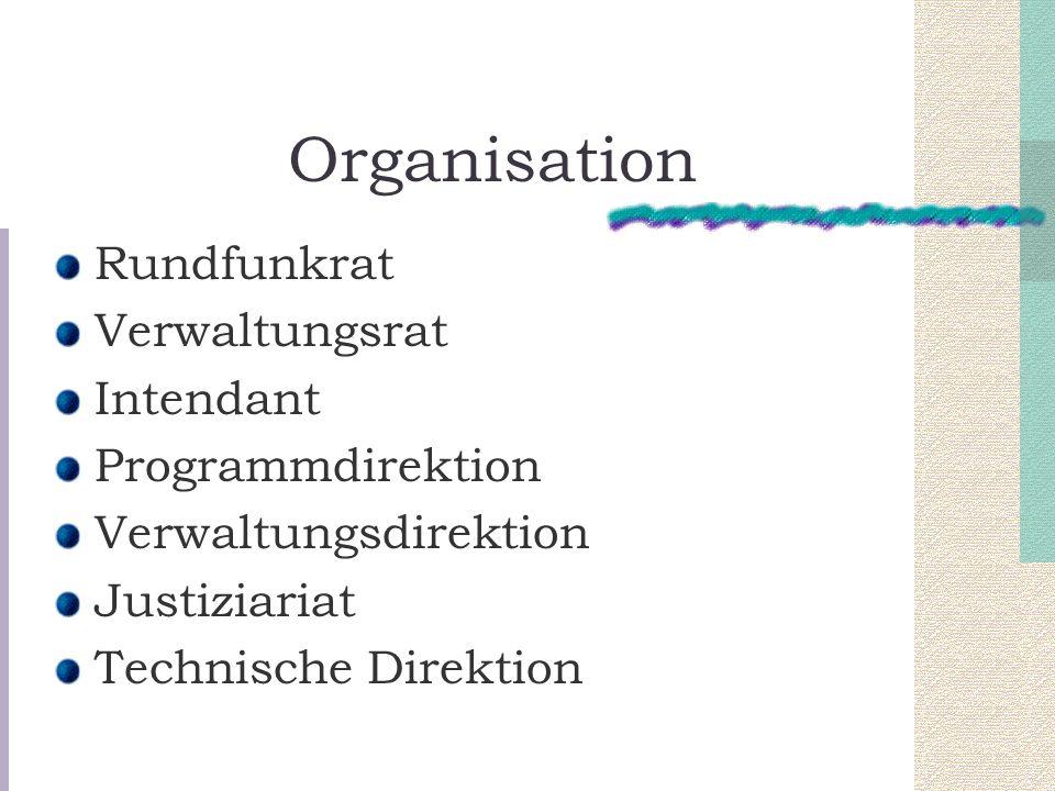 Organisation Rundfunkrat Verwaltungsrat Intendant Programmdirektion Verwaltungsdirektion Justiziariat Technische Direktion