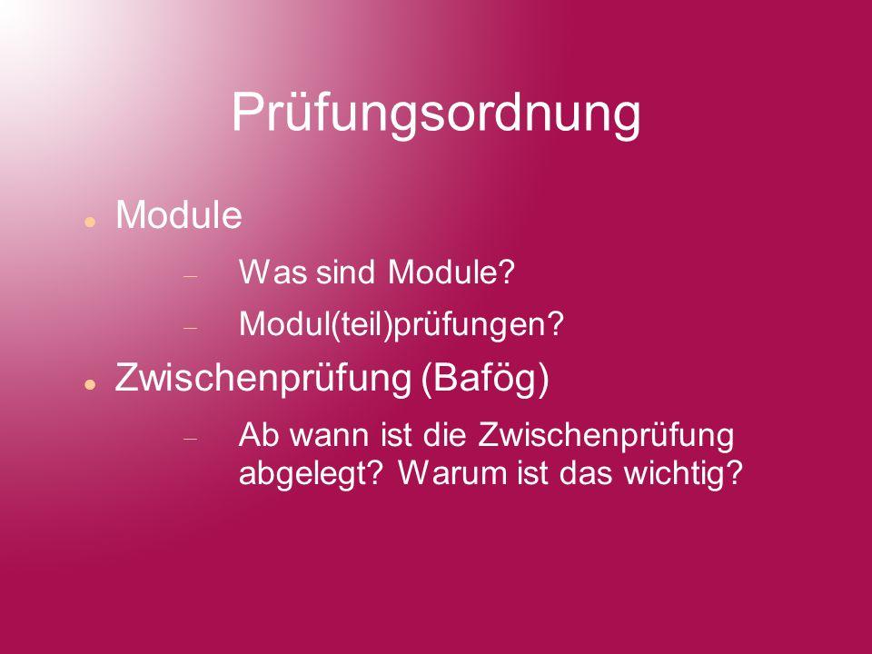 Prüfungsordnung Module Was sind Module. Modul(teil)prüfungen.