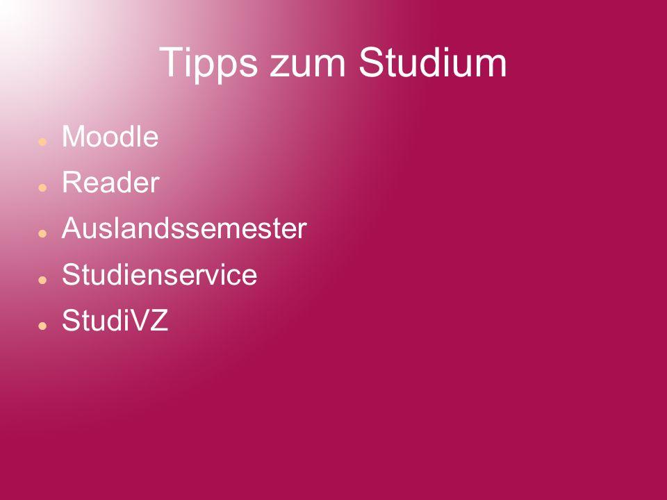 Tipps zum Studium Moodle Reader Auslandssemester Studienservice StudiVZ