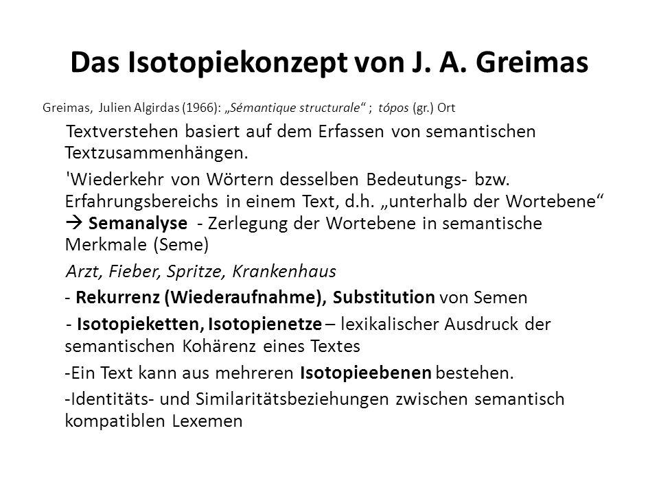 Das Isotopiekonzept von J. A. Greimas Greimas, Julien Algirdas (1966): Sémantique structurale ; tópos (gr.) Ort Textverstehen basiert auf dem Erfassen