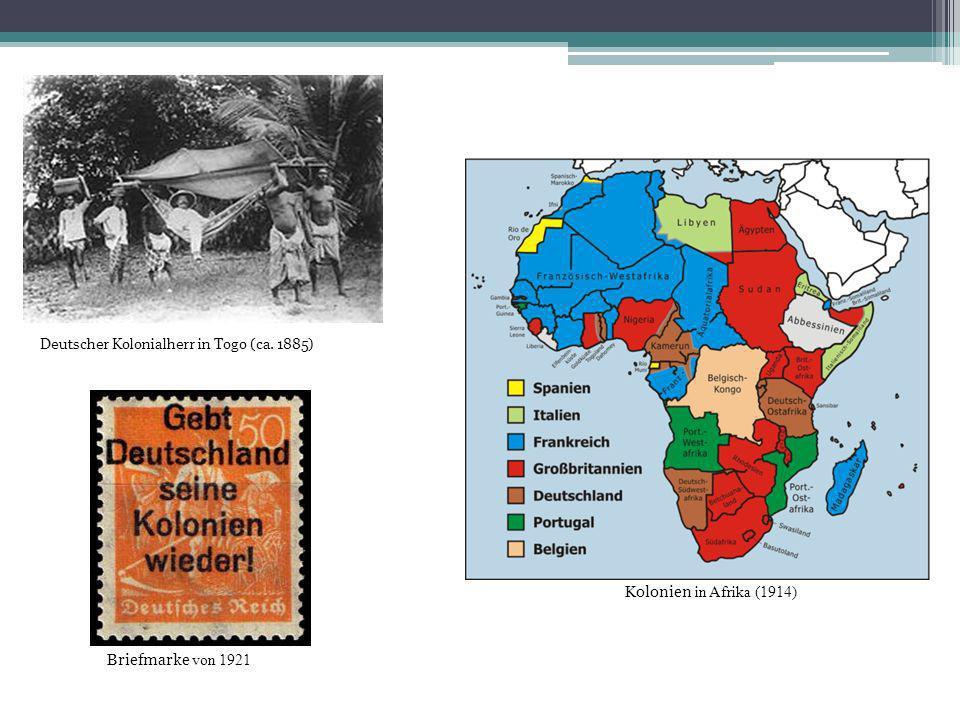 Deutscher Kolonialherr in Togo (ca. 1885) Kolonien in Afrika (1914) Briefmarke von 1921