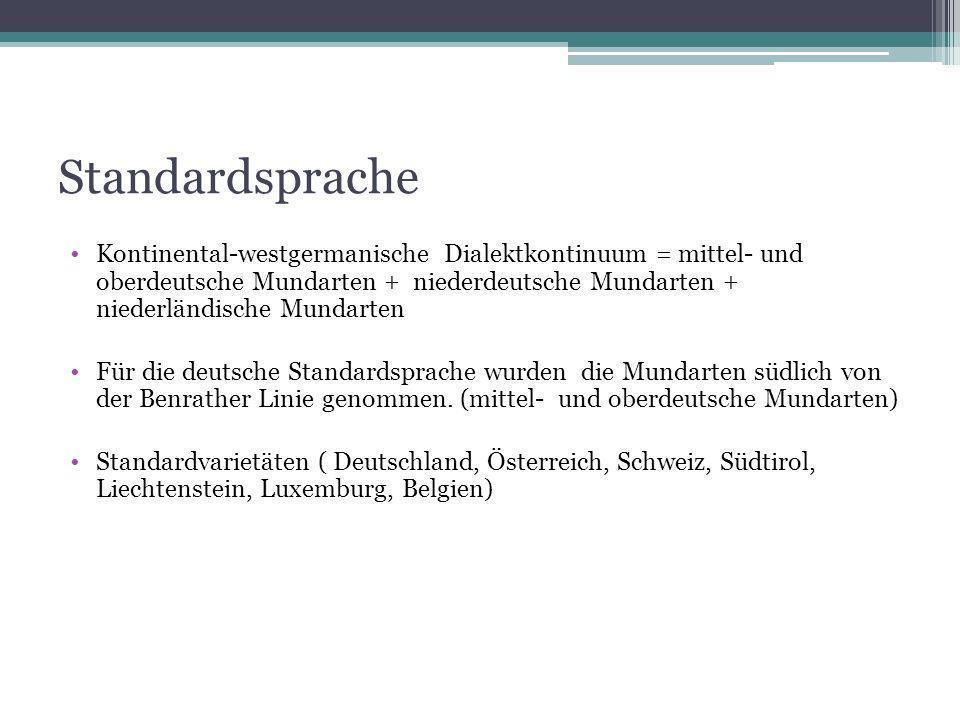 Standardsprache Kontinental-westgermanische Dialektkontinuum = mittel- und oberdeutsche Mundarten + niederdeutsche Mundarten + niederländische Mundart