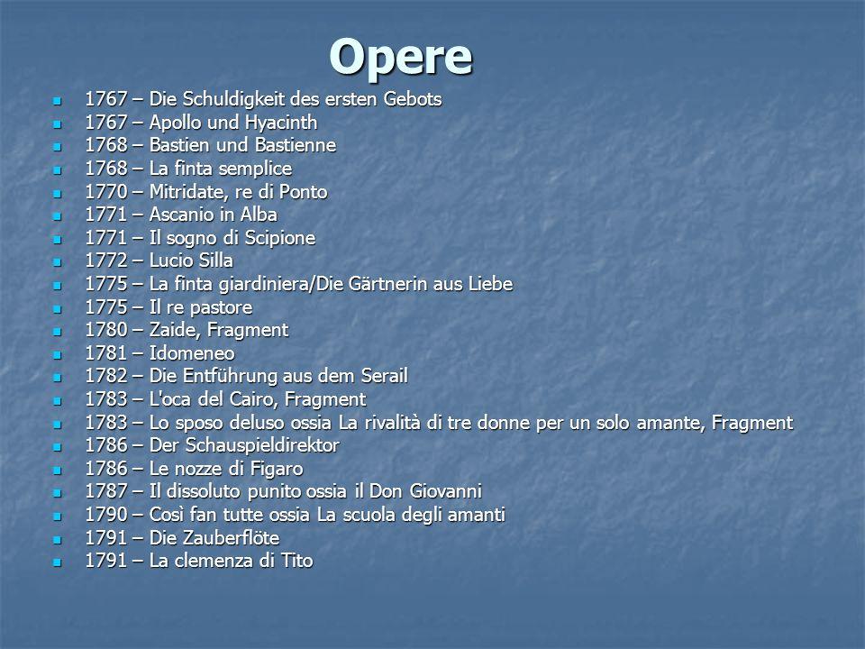 Opere 1767 – Die Schuldigkeit des ersten Gebots 1767 – Die Schuldigkeit des ersten Gebots 1767 – Apollo und Hyacinth 1767 – Apollo und Hyacinth 1768 –