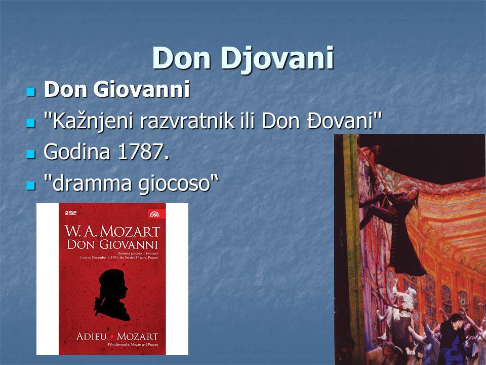 Don Djovani Don Giovanni Don Giovanni ''Kažnjeni razvratnik ili Don Đovani'' ''Kažnjeni razvratnik ili Don Đovani'' Godina 1787. Godina 1787. ''dramma